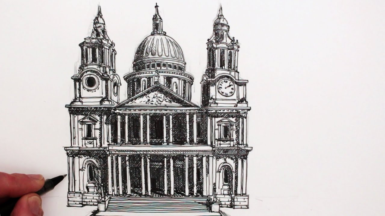 How To Draw Famous Buildings St Pauls Cathedral London