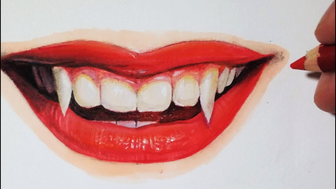 how to draw vampire teeth