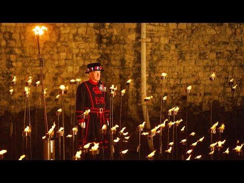 Tower of London lit by thousands of torches to mark WW I armistice anniversary