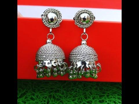 Making of metal jhumkas//Easy DIY metal jhumka earrings//Easy DIY earrings