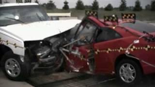 2001 Honda Civic Coupe Vs. 2003 Chevrolet Silverado IIHS-Style Frontal Impact