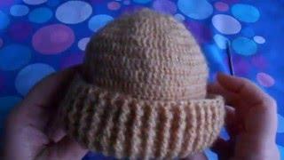 Шапочка для новорожденного крючком.  Видео урок № 3