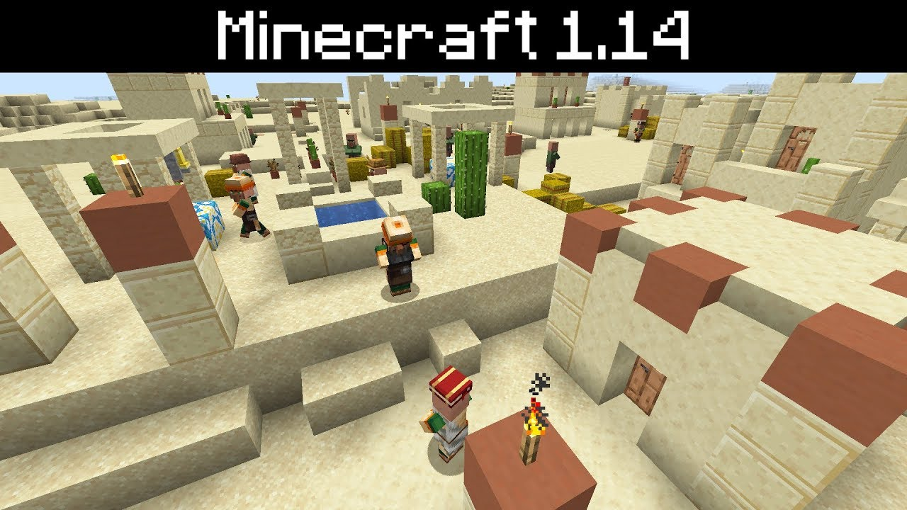 Minecraft 1 14 Desert Villages All New Shops And Houses New Crafting Blocks Improved Design Youtube