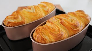 Puff Pastry Butter Bread Loaf | Easiest Recipe | Soft and Thousands of Layers | 手撕千层面包