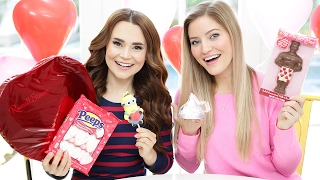 TRYING FUN VALENTINES CANDY w/ iJustine! Video
