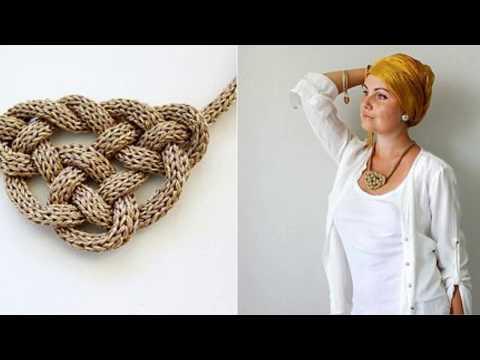 Ожерелье вязаное спицами