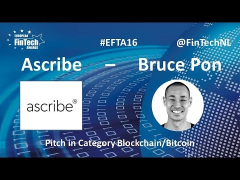 Ascribe Pitch By Bruce Pon In Blockchain / Bitcoin Category At European FinTech Awards 2016