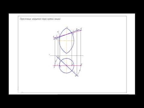 Начертательная геометрия, 1 курс. Пересечение закрытого тора прямой линией