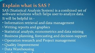Latest SAS interview Questions and Answers for freshers and experienced– Part 1