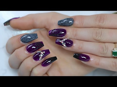 Acrylic Nails Purple Black With A Hint Of Silver Nail Design Nails Elianna Magazine