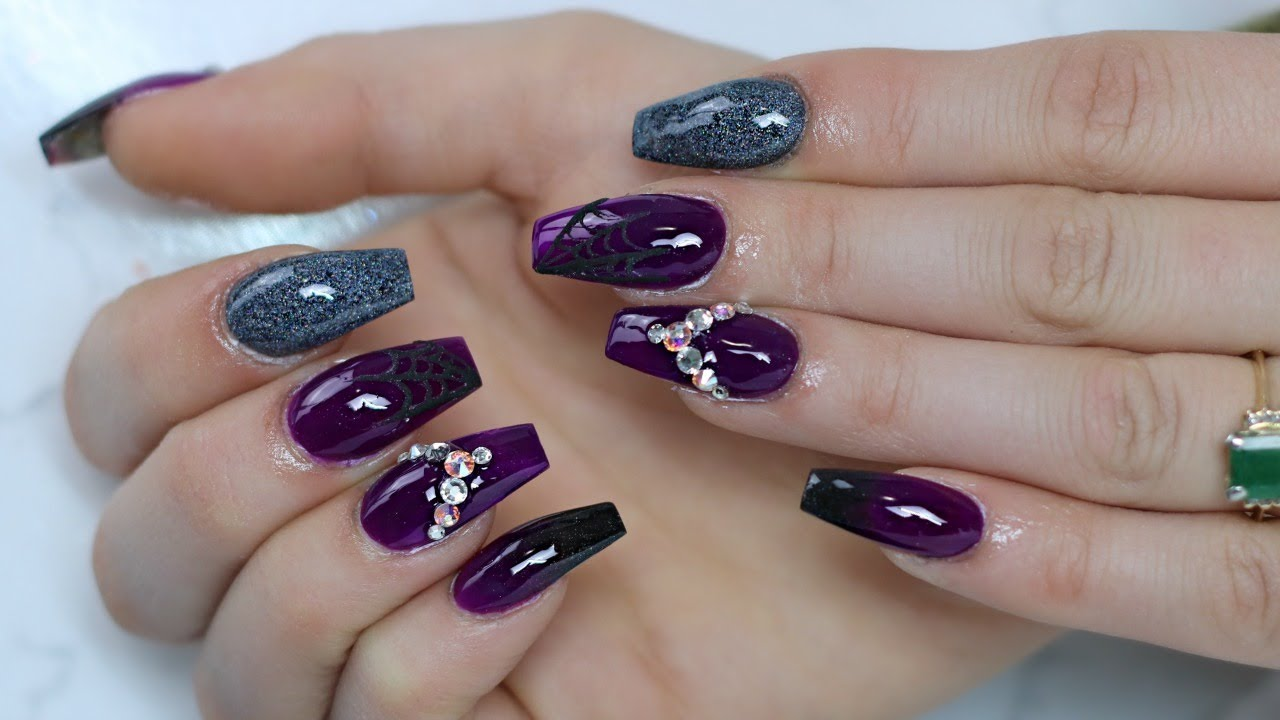 purple nail tutorial halloween