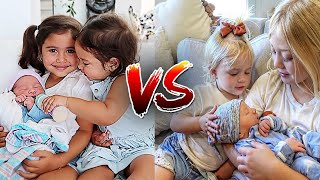 Elle&Alaia VS Everleigh&Posie HOW THEY MET THEIR BABY BROTHER !!{AceFamily VS LabrantFamily)