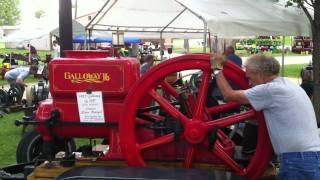 Starting 16hp Galloway hit miss antique gasoline engine