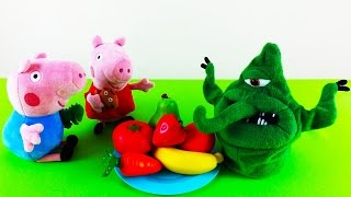 Свинка Пеппа против Микроба - Урок гигиены для детей - Моем руки, фрукты и овощи