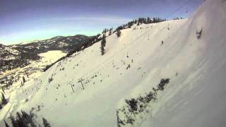 Mike Wilson Skiing Double Backflip over The Fingers at Squaw Valley, California
