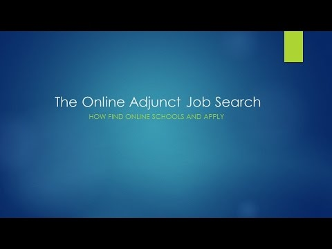 The Online Adjunct Job Search