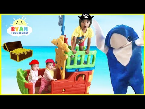 Ryan and Family Build a Kids Pirate Ship and Hunt for a Surprise Treasure Chest
