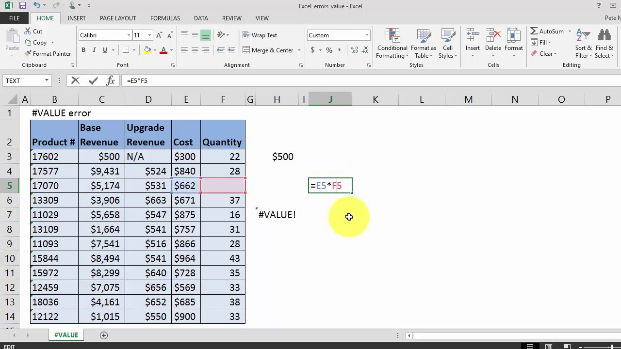 How to fix #VALUE error in your Excel formulas