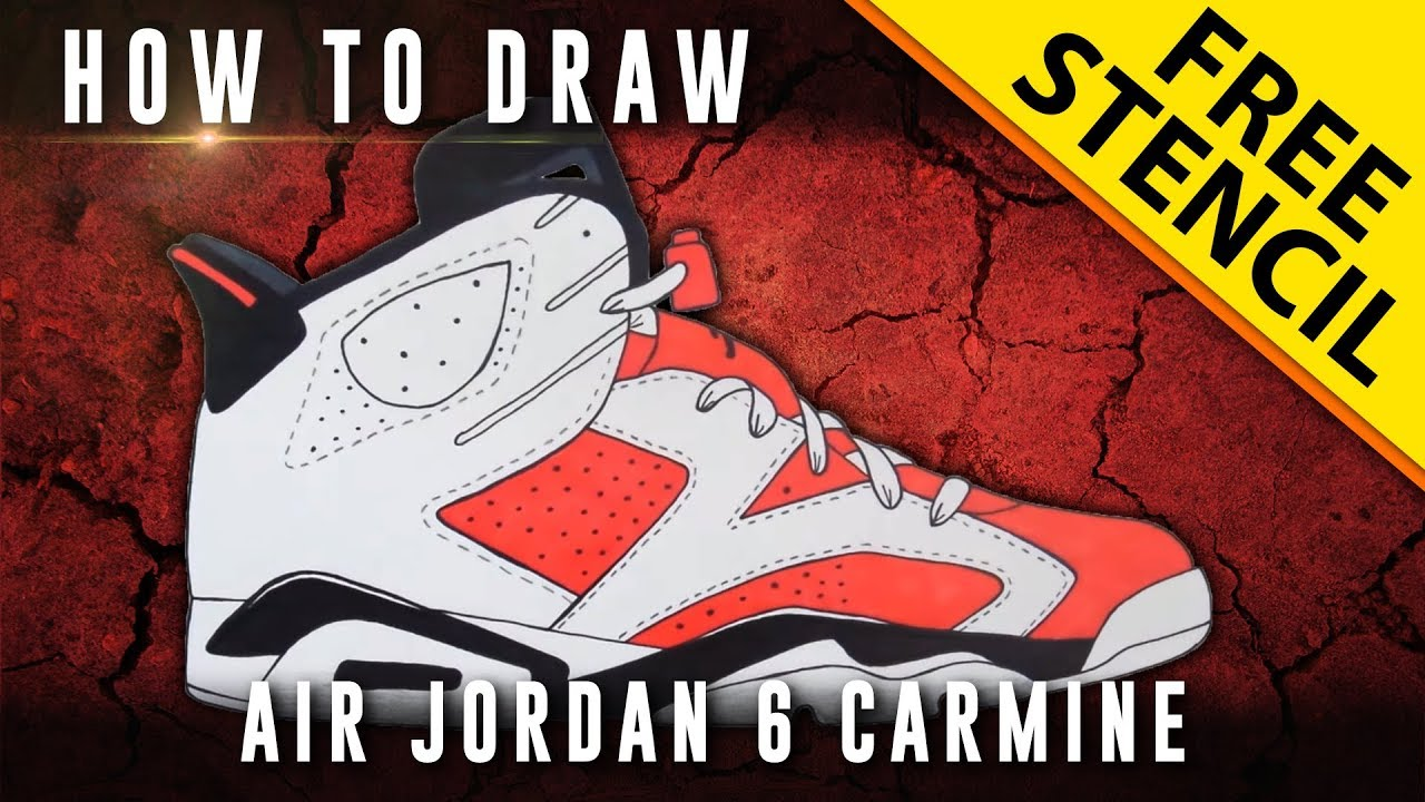 How To Draw: Air Jordan 6 Carmine w/ Downloadable Stencil - YouTube