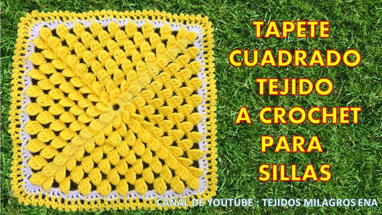 Tapete cuadrado o cojin cuadrado tejido a crochet para sillas y muebles youtube - Tejidos para tapizar sillas ...