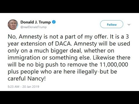 TRUMP TWEETS THAT HE SUPPORTS MASS AMNESTY. SAYS THERE WILL BE NO MASS DEPORTATIONS.