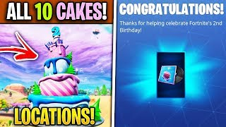 Fortnite 10 Different Birthday Cakes Locations! *FREE* B-Day Beats Music Pack!