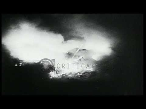 Fire and destruction caused by the munitions factory explosion known as the Kings...HD Stock Footage