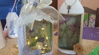Botellas recicladas y decoradas