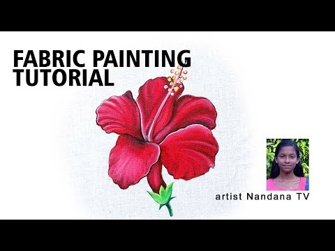 How to make simple hibiscus flower fabric painting/ Fabric painting Tutorials By Nandana TV