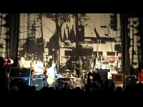 Branden Steineckert getting hazed by Lars at the Rancid at The Fox Theater in Pomona on September 9t