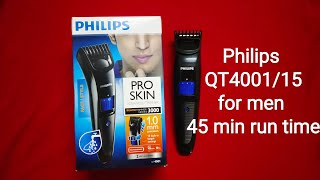 Philips QT4001 15 cordless trimmer for men 45 min run time