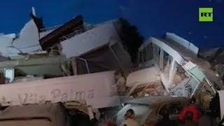 Se derrumba un hotel por el sismo en Albania