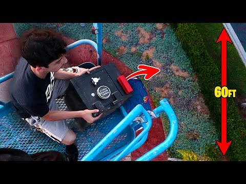 DROPPING THE SECRET SAFE FROM 60 FT HIGH!! (it actually opened)