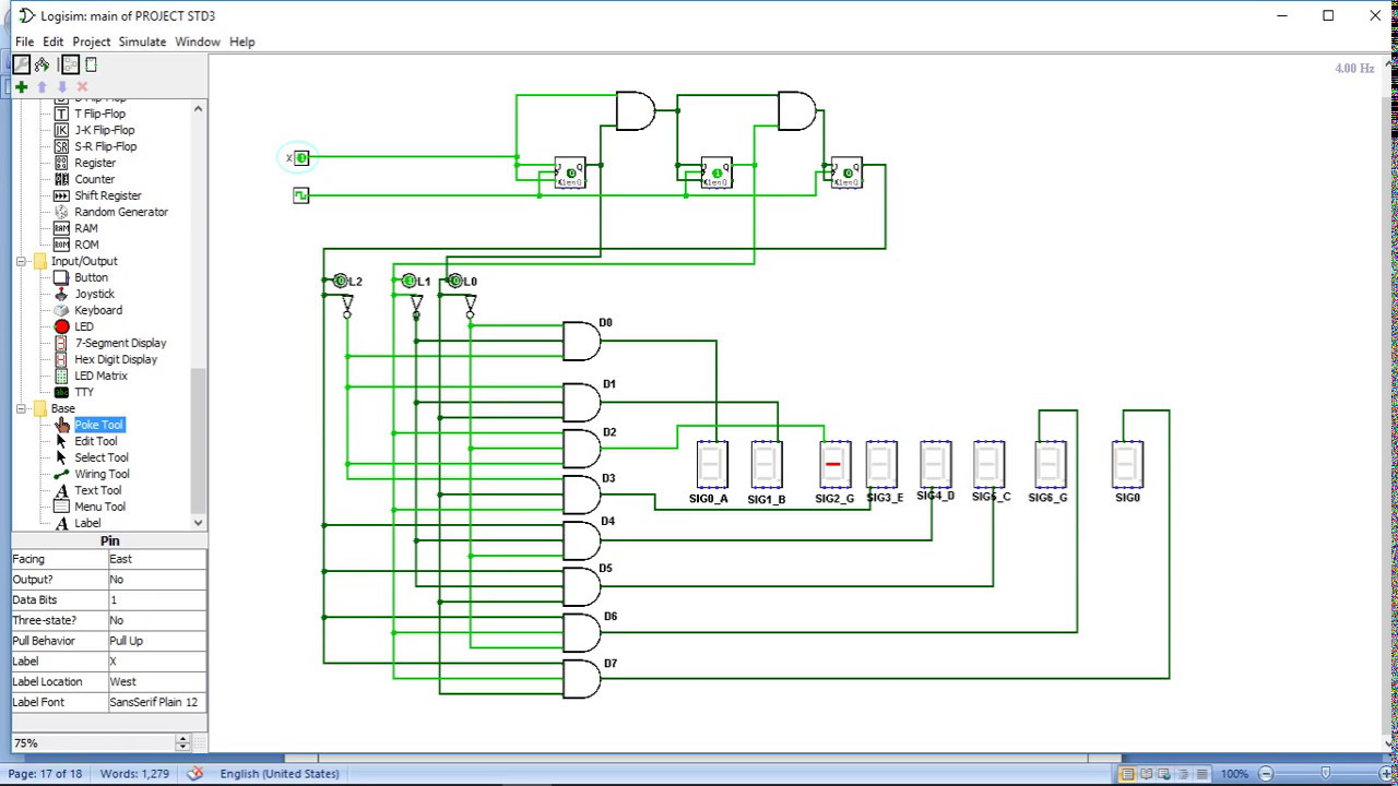 3 Bit Couter And 7 Segment Dispaly Using Logisim Youtube Circuit Diagram With Display Engineering Project