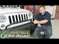 Jeep Wrangler Rugged Ridge Bumper Mounted Light Bar 3 Lights Textured Black 2007-2018 Installation