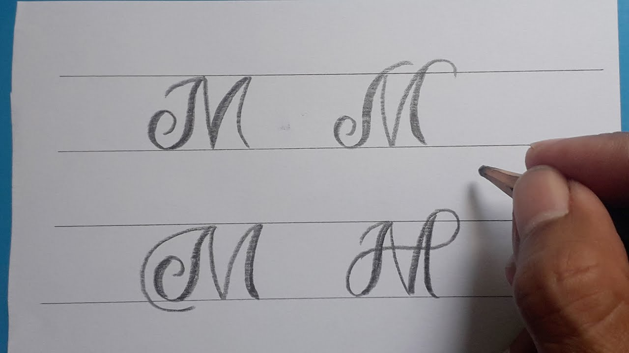 Calligraphy Handwriting Letter M In Cursive Design / How To Write Stylish  Alphabet For Beginners /