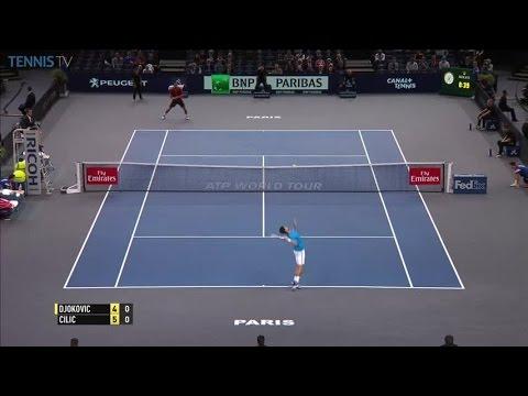 Cilic perfect backhand lob over Djokovic: 2016 ATP Masters 1000 Bercy QF