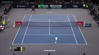 Cilic perfect backhand lob over Djokovic: 2016 ATP Masters 1000 Bercy QF
