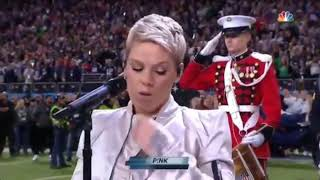 P!nk spits gum before singing the National Anthem Super Bowl 2018