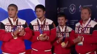 Церемония чествования победителей Европейских игр по вольной борьбе