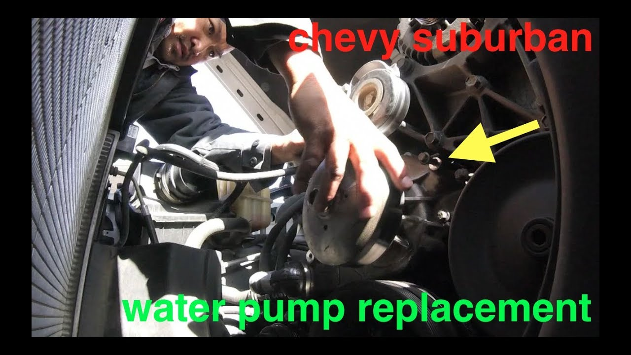 leaking coolant engine overheat water pump replacement chevy suburban fix it angel [ 1280 x 720 Pixel ]