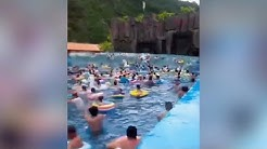 Caught on camera: Giant 'tsunami' injures 44 tourists at water park in China