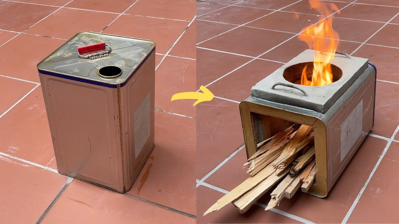 Download Mini multi-purpose outdoor wood stove for 1 person _ Creative ideas from cement and iron barrels