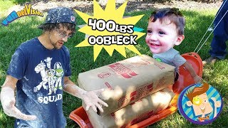 OOBLECK SLIME CHALLENGE! 450lbs Cornstarch Family Fun! FUNnel Family