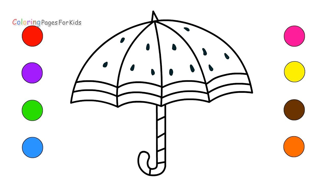 Rainbow Umbrella Coloring Pages For Kids Children Toddlers