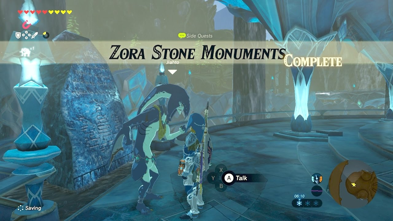 Zelda Botw Zora Stone Monuments Side Quest Youtube
