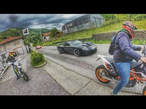 Supercar VS Supermoto - MILLE MIGLIA 2017 | MotoVlog