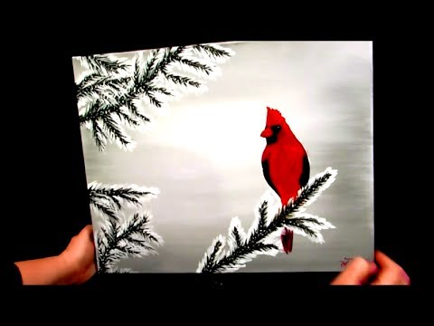 How to paint a cardinal in the snow winter scene youtube Christmas card scenes to paint