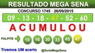 RESULTADO MEGA SENA - 1745 - 26/09/2015 - sábado #SorteMegaSena