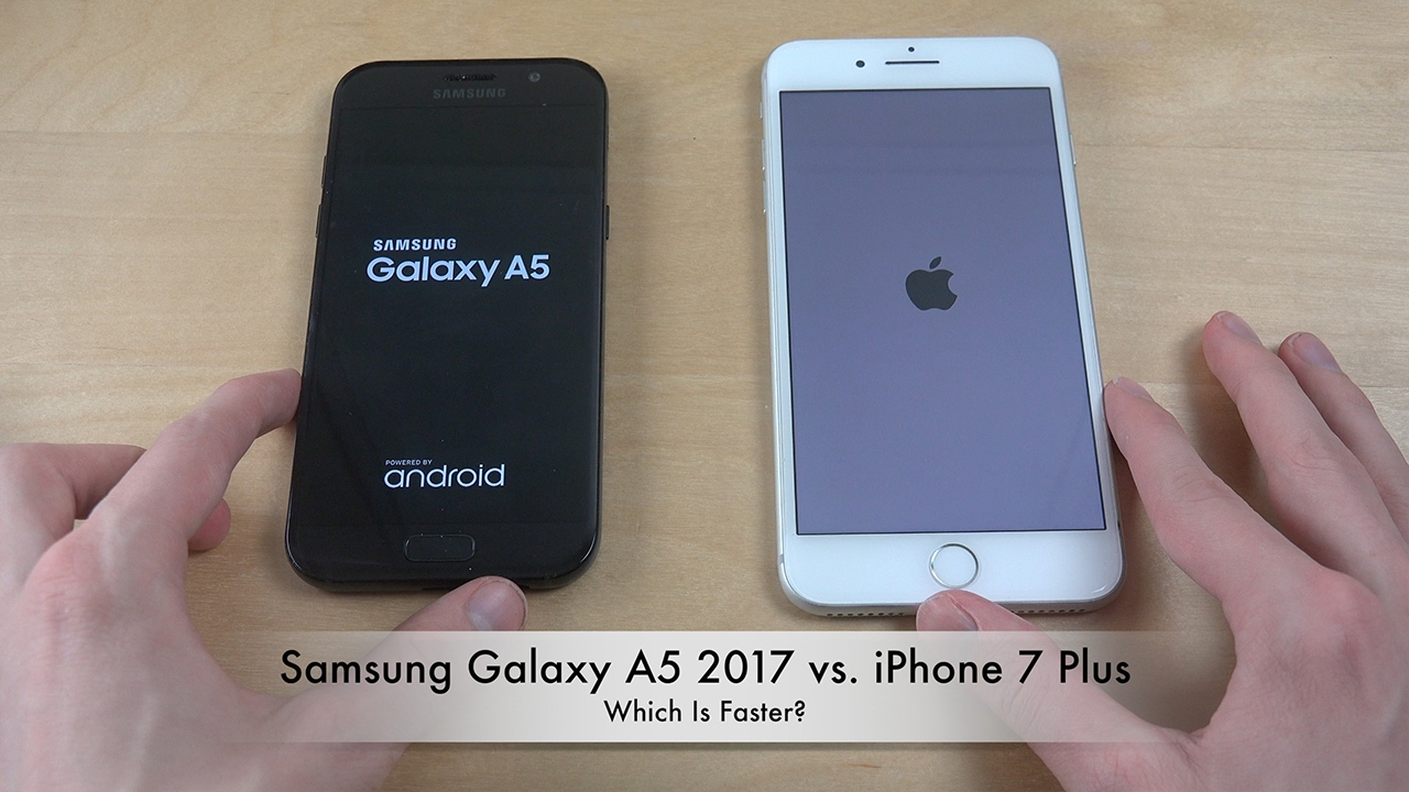samsung galaxy a5 2017 vs iphone 7 plus which is faster youtube. Black Bedroom Furniture Sets. Home Design Ideas